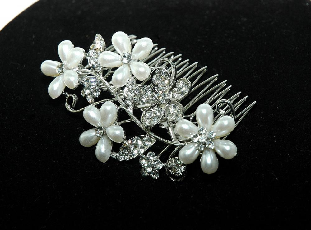 Flower Bridal Wedding Hair Comb - Flower Pearl Hair Comb - Rhinestone Hair Comb - Wedding Acces