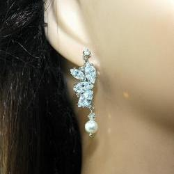 Bridal Crystal Dangle Pearl Earrings with Cubic Zirconia - Wedding Earrings - Pearl Dangle