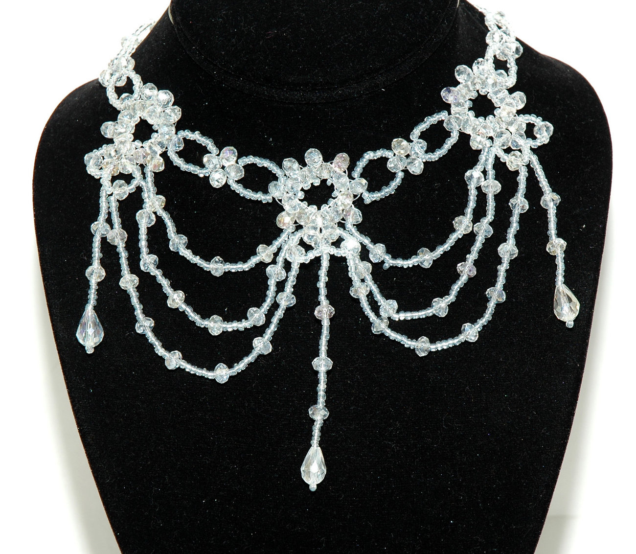 Crystal Beaded Gothic Chandelier Necklace Crystal